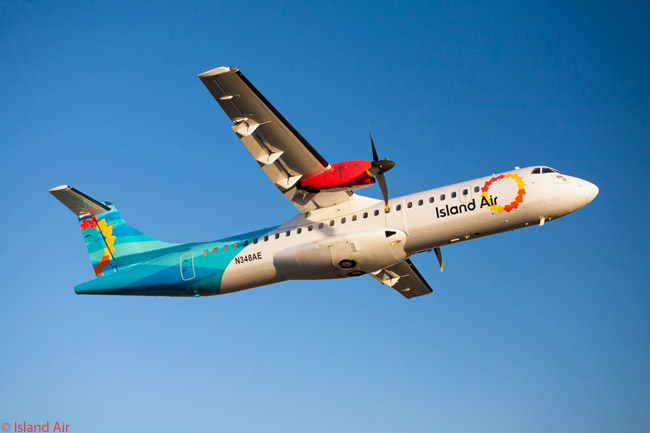 Island Air's attractive and colorful livery is seen to good advantage in this photograph taken from below of the carrier's first ATR 72