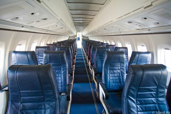 This is the interior of the first ATR 72 acquired by Hawaiian regional carrier Island Air