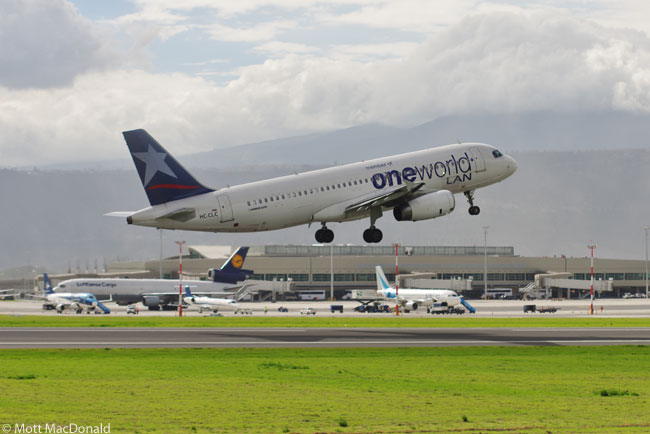 A LAN Ecuador Airbus A320 takes off from the new Mariscal Sucre International Airport serving Quito, the capital of Ecuador. The new airport opened for operations on the morning of February 20