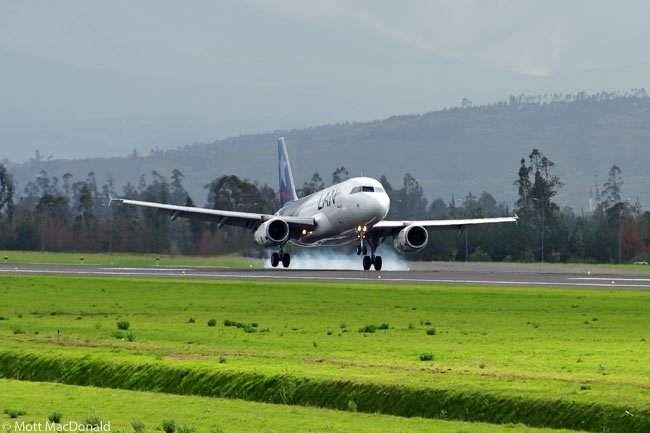 A LAN Airlines A320 lands at Quito's new Mariscal Sucre International Airport, which opened on February 20, 2013