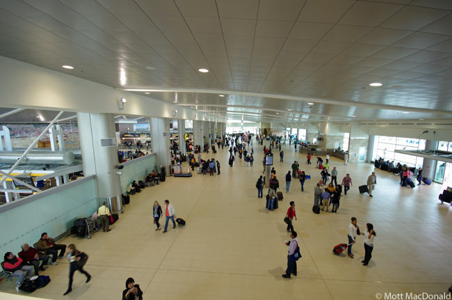 This photograph shows part of the departures area at the new Mariscal Sucre International Airport serving Quito, the capital of Ecuador