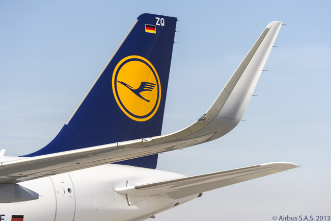 When it took delivery at Airbus' Hamburg facility of its first Sharklet-equipped new A320 on March 1, 2013, Lufthansa became the first carrier in Europe to operate an A320-family aircraft fitted with the drag-reducing, fuel-saving devices. The airline was due to receive 21 more new A320-family jets equipped with Sharklets by 2015