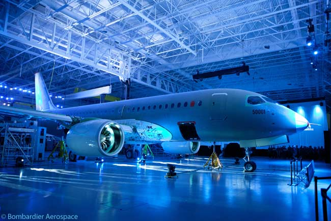 This official photograph taken on or before March 7, 2013, the date of the unveiling of the first two Bombardier CSeries flight-test aircraft, provides an unobstructed view of the first aircraft (which Bombardier calls FTV1). Note the relatively large diameter of the fans of its Pratt & Whitney PurePower PW1521G engines