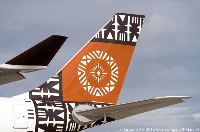 This close-up of the tail fin of Air Pacific's first new Airbus A330-200 provides a good view of the carrier's new Fijian-art livery, which will represent the airline's heritage better as it changes its identity to Fiji Airways