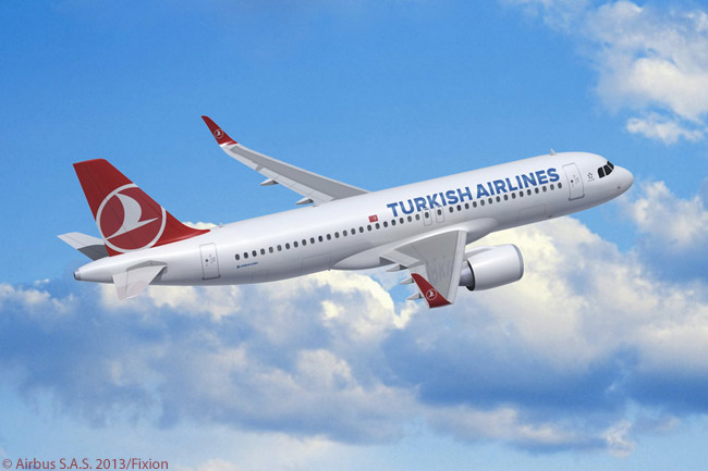 This computer graphic image shows how the Airbus A320neo will look in Turkish Airlines colors