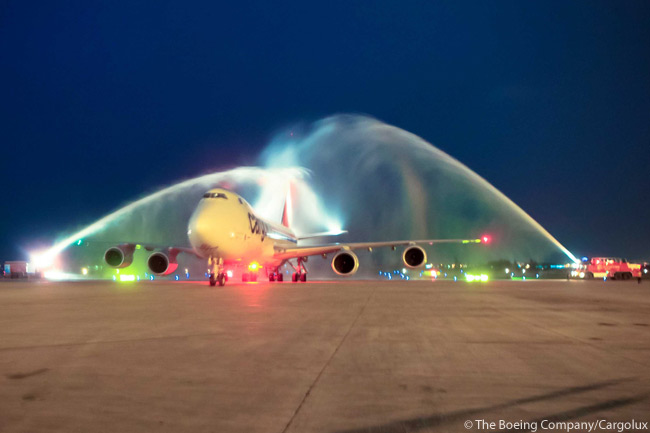 The Boeing 747-8 served its 100th airport just 16 months after entering service. The aircraft pictured here, a 747-8 Freighter operated by launch customer Cargolux, arrived at Hanoi's Nội Bài International Airport in Vietnam from Kuwait on Sunday, March 17, 2013. The photo is copyright of Cargolux