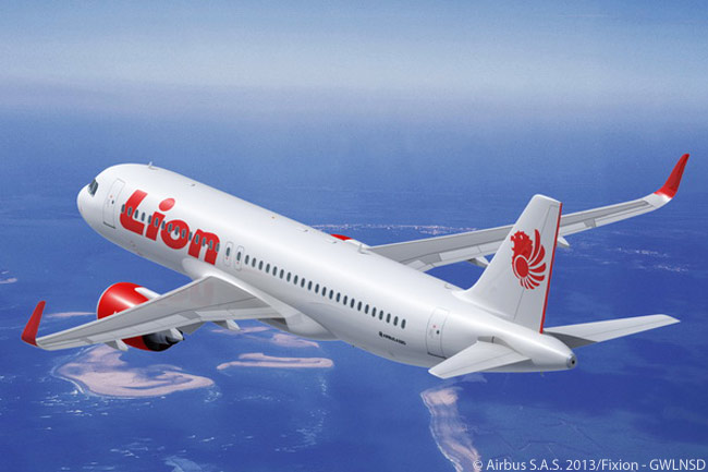 This is how the Airbus A320neo will look in the colors of Lion Air, which until March 18, 2013 – when it placed an order for 234 A320-family jets – was a confirmed and very large customer for Boeing
