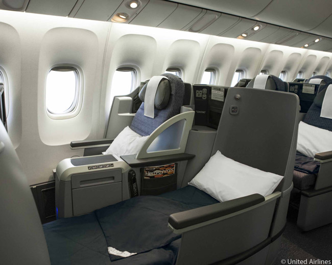 The flat-bed seats in the expanded premium-class cabins of United Airlines' reconfigured p.s. premium-service aircraft used on transcontinental flights have flat-bed seats which offer 76 inches of sleeping space
