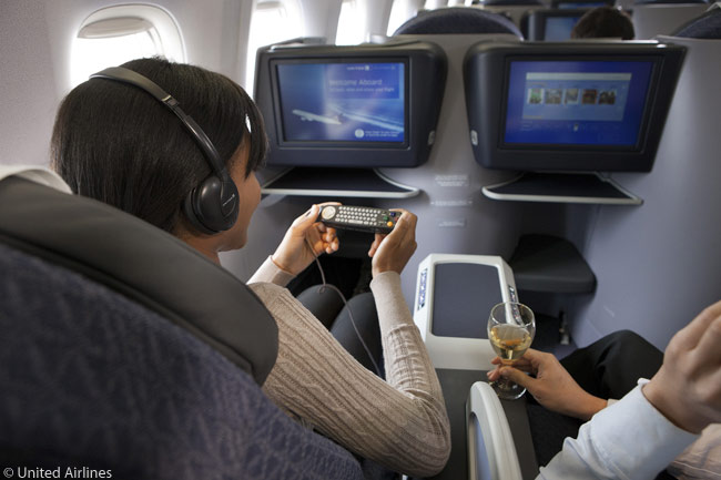 Every passenger on United's reconfigured aircraft for p.s. transcontinental service has access to on-demand entertainment and Gogo in-flight Internet service. There is also a power outlet and USB port at every seat