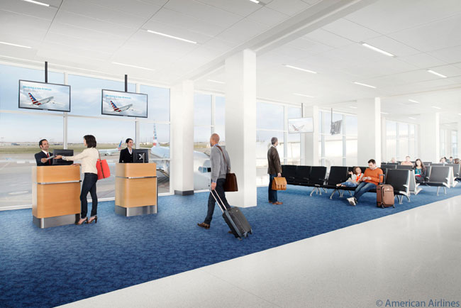 "American Airlines first adopted its new, ""next generation"" design for airports in Phase 1 of the renovation of Terminal A at Dallas/Fort Worth International Airport. Phase 1 of the restoration of the terminal opened on March 26, 2013"