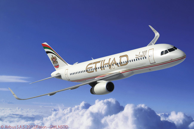 On June 6, 2012, Abu Dhabi's Etihad Airways signed a contract with Airbus to equip 17 of its A320 jetliners on order with fuel-saving Sharklet wingtip devices