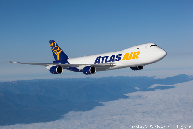 Atlas Air operates some of its Boeing 747-8Fs in its own colors, but most are operated in the colors of its wet-lease customers
