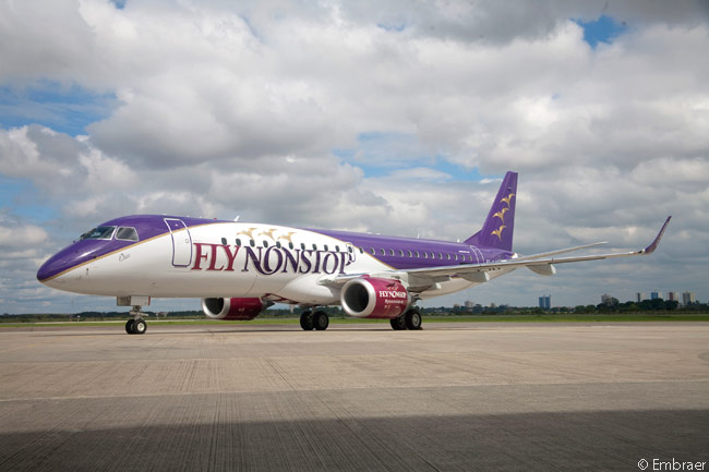 Flynonstop, which is based at Kristiansand Airport, Kjevik in southern Norway, took delivery of its first Embraer 190 in mid-April 2013. The airline is using the aircraft to operate direct non-stop services from its base at Kristiansand Airport, Kjevik to key European cities which were previously unserved from Kristiansand