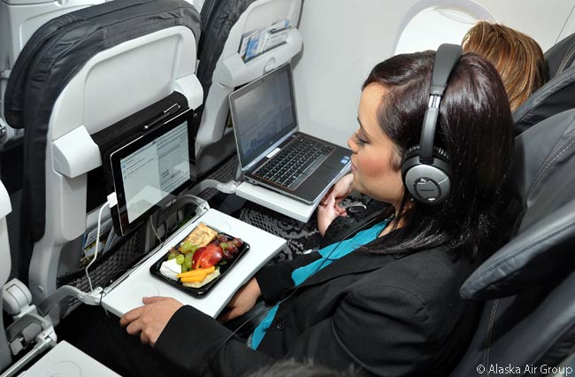 Each new Recaro seat installed by Alaska Airlines in its Boeing 737-800s and 737-900s features a power outlet, so that each passenger can use his or her electronic devices without worrying about draining the batteries
