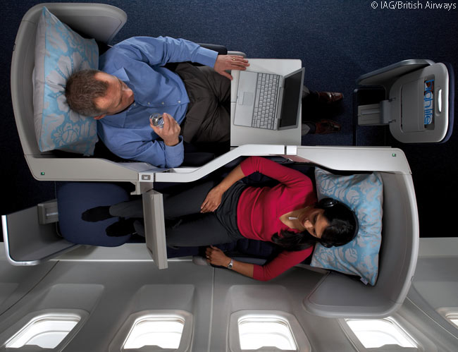 In British Airways' Club World business class cabins, each pair of seats is arranged head to tail to allow direct aisle access for each seat. However, at 20 inches (50.8 centimeters) in width, the seats are narrower than those in some other airlines' business class cabins