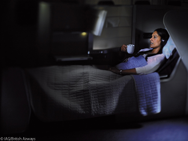 Every business class seat in British Airways' Club World cabins extend to become full-length flat beds. BA was the first airline to introduce flat bed seats, at the turn of the current century