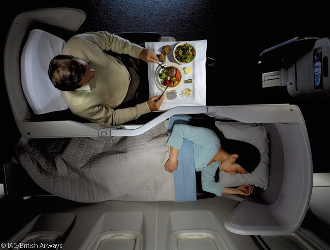 When flying in British Airways' Club World cabins on overnight flights, some passengers choose to eat in the lounge before the flight and sleep on board, while other passengers prefer to eat BA's 'Height Cuisine' (meals prepared so they taste good in the thinner cabin atmosphere at cruise altitude) on board the aircraft