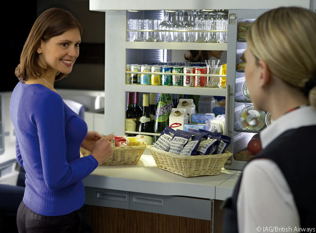 Passengers can visit the in-flight kitchen in the Club World cabins of their BA flight to find snacks or beverages outside the scheduled meal service times