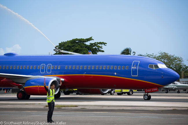 The first Southwest Airlines 737-800 arrives at San Juan's Luis Muñoz Marín International Airport on April 15, 2013. San Juan was Southwest Airlines' first destination outside the contiguous United States