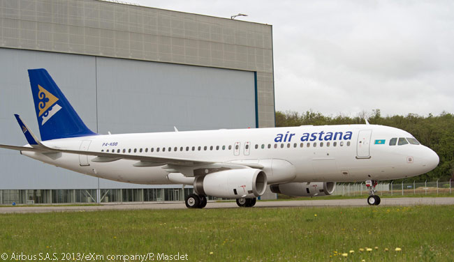 Kazakhstan's Air Astana took delivery of its first Sharklet-equipped Airbus A320 on May 6, 2013, becoming the first carrier in Central Asia to receive an A320-family jet fitted with the drag-reducing wing-tip devices