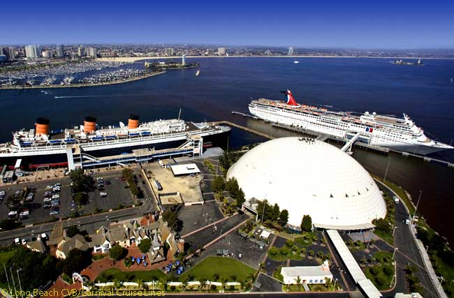 Carnival Cruise Lines now uses as its Long Beach Cruise Terminal the huge dome next to the RMS Queen Mary which used to house the famous giant 'Spruce Goose' flying boat