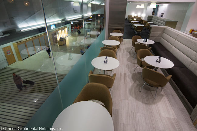 The new United Club lounge at Seattle-Tacoma International Airport is the second United lounge to feature the airline's new design concept