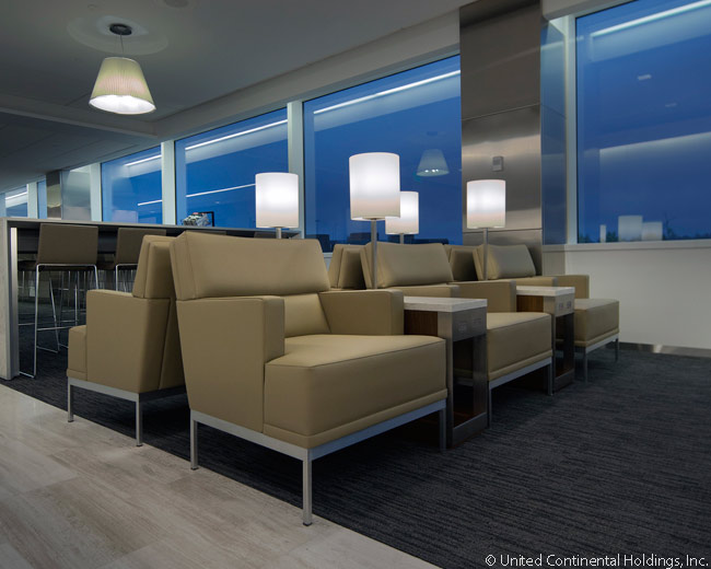 United Airlines says its new design concept for United Club lounges offers customers a warm, relaxing and improved airport lounge experience. This is the new United Club lounge in Seattle-Tacoma International Airport's Terminal A