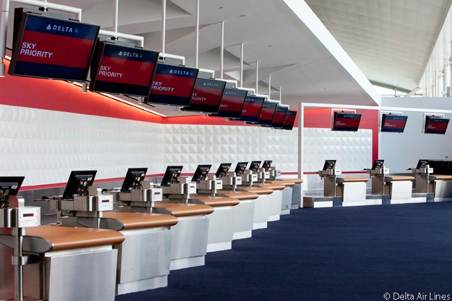 These are Delta Air Lines's Sky Priority check-in facilities in the airline's New York JFK Terminal 4 Concourse B expansion