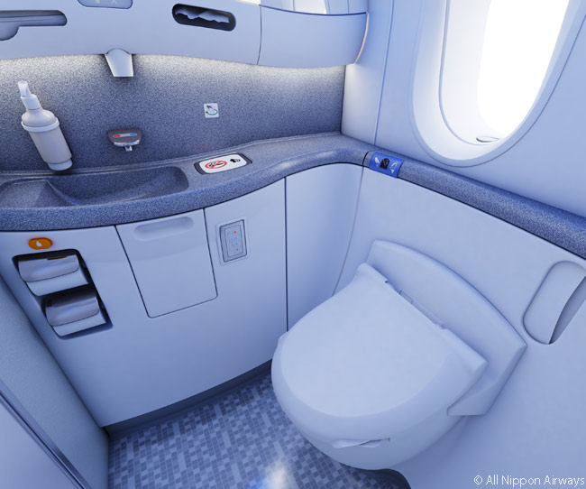 ANA's Boeing 787 business class cabins feature sizable, modern bathrooms with large windows