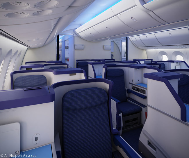 The business class cabins in ANA's Boeing 787s feature alternating rows of one and two seats: 1-2-1, 1-1-1, 1-2-1 and so on