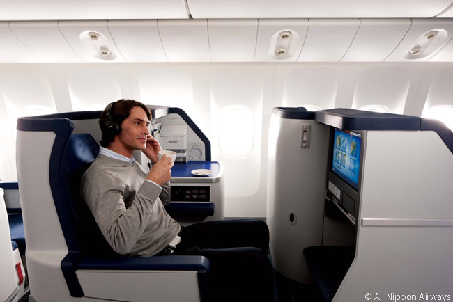 In-flight entertainment options in ANA's Boeing 787 business class cabins include a wide range of Japanese and Western music, as well as many movies, TV shows and games