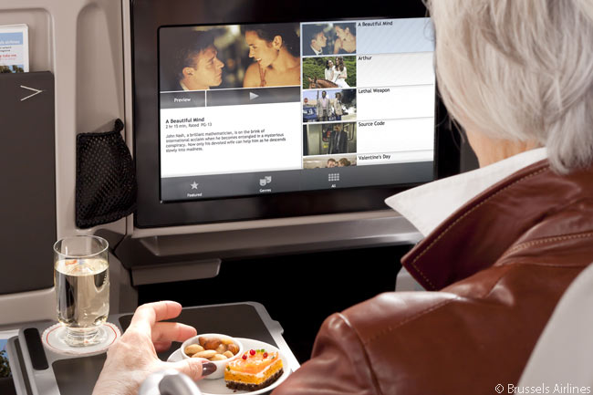 Brussels Airlines' new RAVE in-flight entertainment system features individual touch-screen tablet computers at each seat; business class seats have screens that are 15.3 inches in diameter, while the same-technology screens in economy class are 8.9 inches