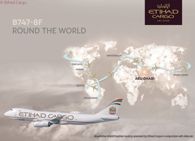 This diagram shows the routing of Etihad Cargo's round-the-world freighter service, operated by a Boeing 747-8F wet-leased from Atlas Air