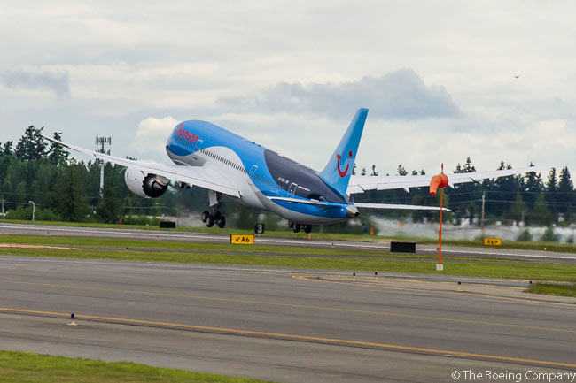 Thomson Airways of the UK took delivery of its first Boeing 787-8 on May 31, 2013. The aircraft is seen here departing Paine Field in Washington, next to where Boeing's main 787 final assembly line is located, for Manchester Airport in the UK