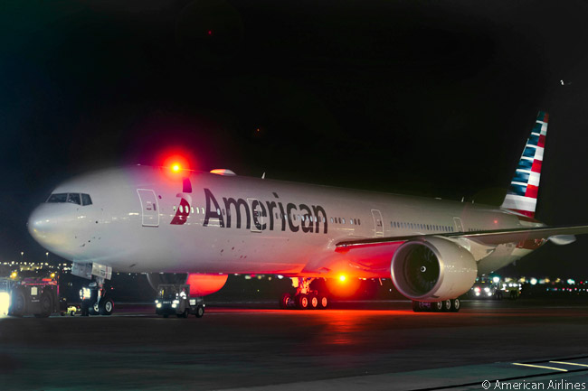 American Airlines' first Boeing 777-300ER was the first aircraft to feature the carrier's new livery