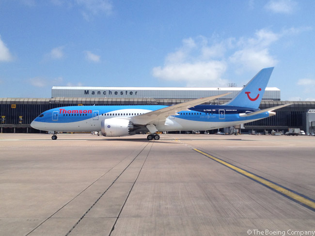 Thomson Airways' first Boeing 787 arrives at Manchester Airport in the UK on May 31, 2013, following its delivery flight from Paine Field in Everett. The aircraft was the first 787 to be delivered to a British airline