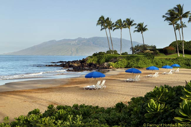 This is the view from the north end of the beach at the Fairmont Kea Lani on Maui