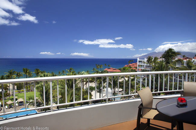The lanais of some of the suites in the main building at the Fairmont Kea Lani have wonderful views over the ocean off the Hawaiian island of Maui