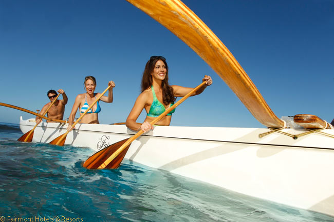 Among the complimentary cultural and adventure activities which the Fairmont Kea Lani offers is outrigger canoeing