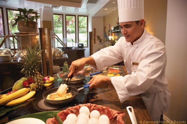 The Fairmont Kea Lani's Kea Lani restaurant offers a superb breakfast buffet, complete with fresh-made omelets