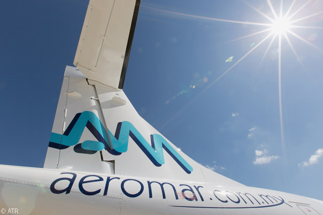 Taken from an unusual angle, this photo shows Mexican regional carrier Aeromar's logo on the vertical stabilizer of one of two new ATR 72-600s it is leasing from ALC