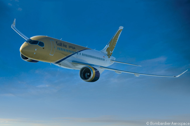 Bombardier Aerospace disclosed on June 4, 2013 (shortly before the first flight of the first CS100 jetliner) that Bahrain's national carrier Gulf Air was the previously undisclosed customer behind a June 20, 2011 firm order for 10 Bombardier CS100s. Gulf Air also took options on six additional CS100s