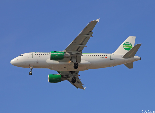 Germania Airbus A319 D-AHIL is photographed on approach to Berlin-Tegel Airport. Germania's fleet is composed of A319s and Boeing 737-700s