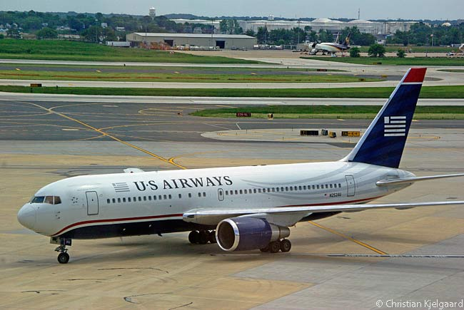 US Airways Boeing 767-200 N252AU taxis in towards its arrival gate at Philadelphia International Airport after landing following an international flight