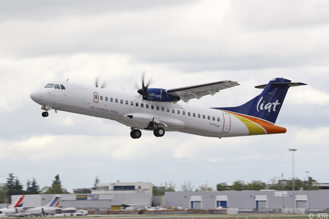 Caribbean regional carrier LIAT took delivery on June 13, 2013 of the first of eight new ATR 600-series turboprops (four ATR 72-600s and four ATR 42-600s) it i isuing to upgrade its fleet. The first aircraft, an ATR 72-600, is leased from GE Capital Aviation Services