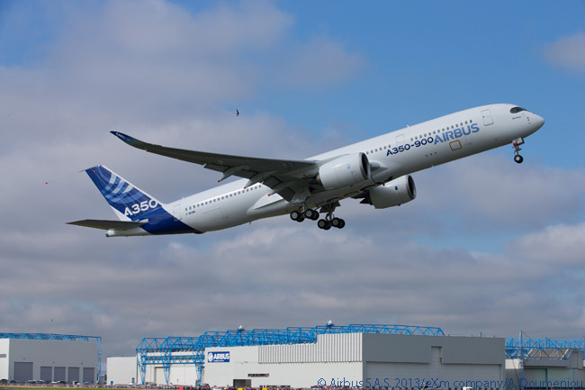 Airbus A350 XWB MSN1 takes off from Toulouse-Blagnac Airport on its maiden flight at 10:00 a.m. on June 14, 2013