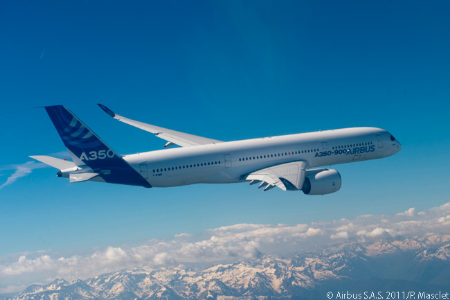 The A350-900, the first member of the Airbus A350 XWB family, made a successful first flight of 4 hours and 5 minutes on June 14, 2013. The aircraft followed this flight with a second test flight on June 19
