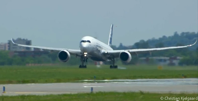 Airbus A350 XWB MSN1 touches down after its successful four-hour maiden flight, which took place on June 14, 2013, three days before the beginning of the 2013 Paris Air Show