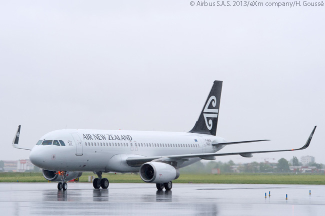 The first of 10 new A320s fitted with Sharklets for Air New Zealand taxis in the the flight line at Le Bourget Airport near Paris, for a formal hand-over ceremony to the airline on June 17 at the Paris Air Show