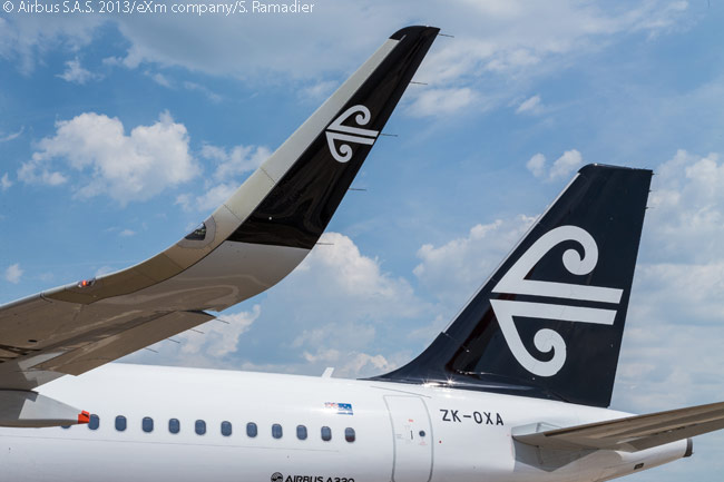 This close-up of a Sharklet on the first new A320 for Air New Zealand equipped with the fuel-saving wing-tip devices shows that the carrier has chosen to have its logo reproduced on each Sharklet's outer vertical surface